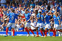 Portsmouth players celebrates the goal scored by Jamal Lowe of Portsmouth (10) during Portsmouth vs Luton Town, Sky Bet EFL League 1 Football at Fratton Park on 4th August 2018