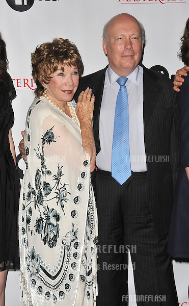 Julian Fellowes & Shirley MacLaine at photocall for the third series of Downton Abbey at the Beverly Hilton Hotel..July 22, 2012  Los Angeles, CA.Picture: Paul Smith / Featureflash