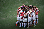 HOUSTON, TX - DECEMBER 11:  Stanford University huddles before the Division I Men's Soccer Championship held at the BBVA Compass Stadium on December 11, 2016 in Houston, Texas.  Stanford defeated Wake Forest 1-0 in a penalty shootout for the national title. (Photo by Justin Tafoya/NCAA Photos via Getty Images)