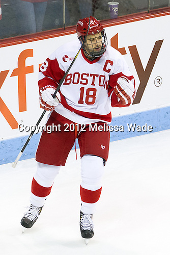 Wade Megan (BU - 18) - The Boston University Terriers defeated the visiting Boston College Eagles 4-2 (EN) on Friday, November 30, 2012, at Agganis Arena in Boston, Massachusetts.