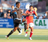 Santa Clara, California - Saturday July 28, 2012: Chicago Fire's Pavel Pardo and San Jose Earthquakes' Simon Dawkins in action during a game at Buck Shaw Stadium, Stanford, Ca    San Jose Earthquakes and Chicago Fire tied 0 - 0