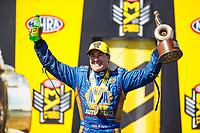 May 21, 2017; Topeka, KS, USA; NHRA funny car driver Ron Capps celebrates after winning the Heartland Nationals at Heartland Park Topeka. Mandatory Credit: Mark J. Rebilas-USA TODAY Sports