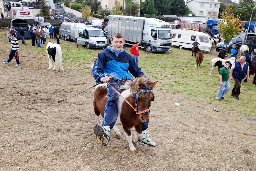 9/10/2010.  Traveller boy rides a minature pony at the Ballinasloe Horse Fair, Ballinasloe, County Galway, Ireland. Picture James Horan