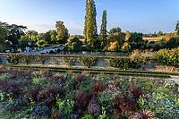 France, Indre-et-Loire (37), Rigny-Ussé, château et jardin d'Ussé en octobre, la terrasse inférieure et les plates-bandes de plantes annuelles, l'Indre à l'extérieur du parc