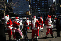 NEW YORK - NOV 30: Volunteers of America Santas make their way around New York City on Friday November 30, 2007. (Photo by Landon Nordeman)