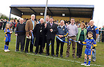 25-02-12: Kerry County Board Vice-Chairman Ger Galvin cuts the tape at  the senior football challenge match between Kerry and Kildare at the Ballymacelligott GAA Club official pitch reopening on Saturday. Also included are Jerome McEllistrim (Ballymac President), Sean Walsh (Munster Council Chairman) , Archbishop Dermot Clifford, Tim Murphy (Kerry GAA Development Officer), Stephen O'Brien (Ballymac Chairman), Maureen O'Shea (Kerry GAA PRO).  Picture: Eamonn Keogh (MacMonagle, Killarney)