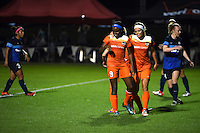 Kansas City, MO - Saturday May 07, 2016: Houston Dash forward Chioma Ubogagu (9) is congratulated by  forward Rachel Daly (3) after scoring against FC Kansas City during a regular season National Women's Soccer League (NWSL) match at Swope Soccer Village. Houston won 2-1.