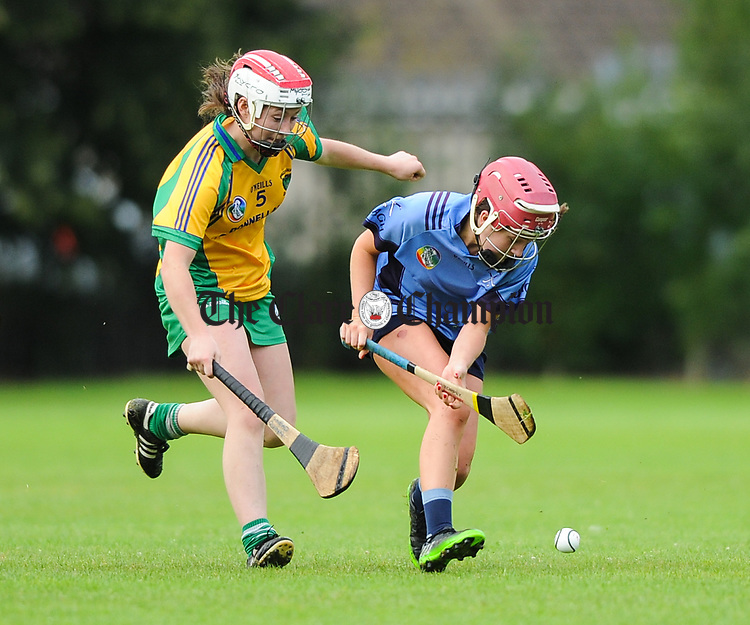Sinead Quinn of Inagh-Kilnamona in action against Roisin Begley of Truagh-Clonlara during their first round senior championship game in Shannon. Photograph by John Kelly