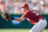 Oklahoma 1B Cameron Seitzer in Game 10 of the NCAA Division One Men's College World Series on June 24th, 2010 at Johnny Rosenblatt Stadium in Omaha, Nebraska.  (Photo by Andrew Woolley / Four Seam Images)