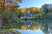 France,Correze, Saint Privat, Malesse pond and the mill dated 12th century //   France, Corrèze (19), Saint-Privat, étang de Malesse et le moulin du XIIe siècle sur la levée