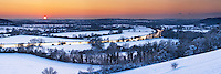 Winter sunset over the River Thames from the Chiltern Hills by Mapledurham, Berkshire, Uk