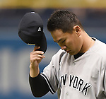 Masahiro Tanaka (Yankees),<br /> APRIL 2, 2016 - MLB :<br /> New York Yankees starting pitcher Masahiro Tanaka reacts as he walks back to the dugout after the bottom of the second inning during the opening day of the Major League Baseball game against the Tampa Bay Rays at Tropicana Field in St. Petersburg, Florida, United States. (Photo by AFLO)