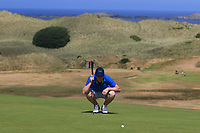 Robert Brazill (Naas) on the 16th green during Round 2 - Strokeplay of the North of Ireland Championship at Royal Portrush Golf Club, Portrush, Co. Antrim on Tuesday 10th July 2018.<br /> Picture:  Thos Caffrey / Golffile
