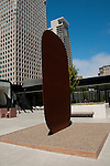 San Francisco Museum of Modern Art, SFMOMA, Rooftop Garden with Ellsworth Kelly  sculpture titled Stele 1.  Photo copyright Lee Foster.  Photo # casanf103965