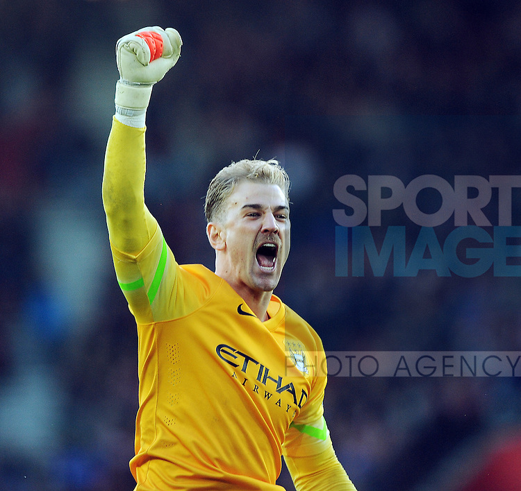 Manchester City goalkeeper Joe Hart celebrates after Manchester City's 3rd goal<br /> - Barclays Premier League - Southampton vs Manchester City - St Mary's Stadium - Southampton - England - 30th November 2014 - Pic Robin Parker/Sportimage