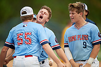 Jake Willis (55), Austin Hendricks (42) and Carter Ruff (9) during the WWBA World Championship at the Roger Dean Complex on October 10, 2019 in Jupiter, Florida.  Austin Hendricks attends Upson-Lee High School in Thomaston, GA and is Uncommitted.  (Mike Janes/Four Seam Images)