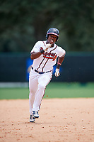 GCL Braves center fielder Jeremy Fernandez (13) runs the bases during the second game of a doubleheader against the GCL Yankees West on July 30, 2018 at Champion Stadium in Kissimmee, Florida.  GCL Braves defeated GCL Yankees West 5-4.  (Mike Janes/Four Seam Images)