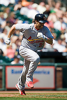 12 April 2008: #21 Jason LaRue of the Cardinals runs to first base during the St. Louis Cardinals 8-7 victory over the San Francisco Giants at the AT&T Park in San Francisco, CA.