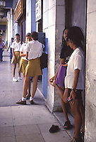 White and creol student girls in Havana Cuba