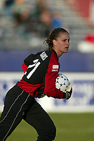Goalkeeper Nicole Williams of the New York Power during her first WUSA start against the San Jose CyberRays at Mitchell Athletic Complex on May 5. The CyberRays won 1-0.