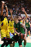 Liga ENDESA 2019/2020. Game: 14.<br /> Club Joventut Badalona vs FC Barcelona: 80-95.<br /> Brandon Davies, Alen Omic & Alex Abrines.