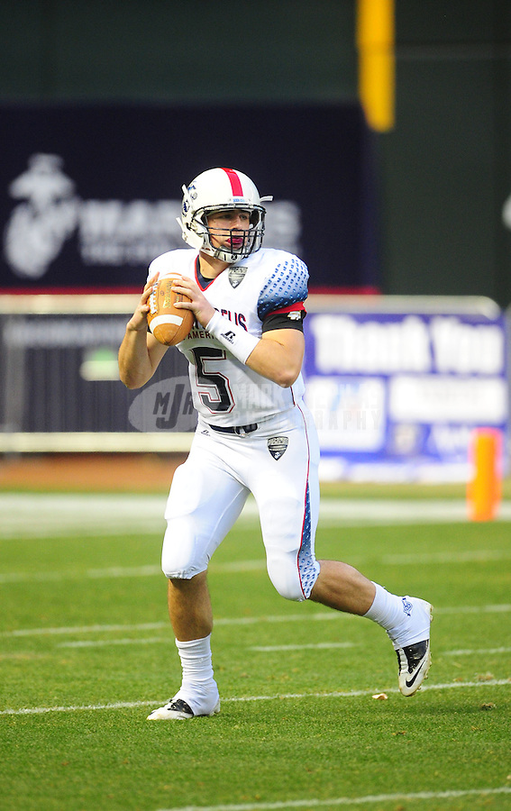Jan. 3, 2012; Phoenix, AZ, USA; West quarterback (5) Jeff Lindquist looks to pass in the first half against the East during the Semper Fidelis All-American Bowl high school football game at Chase Field. Mandatory Credit: Mark J. Rebilas-