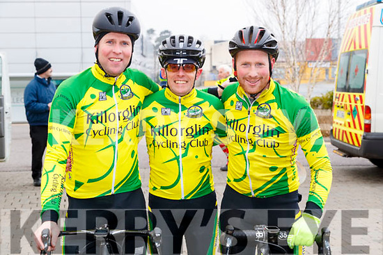 Bernard Sweeney, Ted McCarthy and Edward Casey, Killorglin Cycling Club members, who took part in the Lacey Cup Cycle on Sunday morning last.