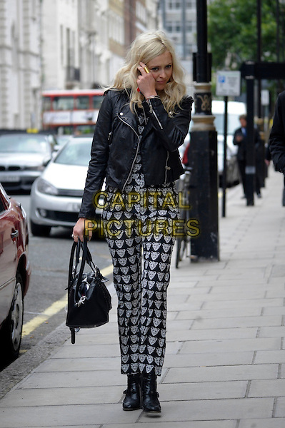 Fearne Cotton leaving BBC Radio 1, London, England.<br /> 11th September 2013<br /> full length black white print pattern fox animal jacket leather bag purse print jumpsuit     <br /> CAP/IA<br /> &copy;Ian Allis/Capital Pictures