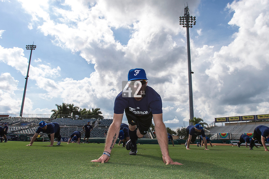 18 September 2012: France Joris Bert warms up during Team France practice, at the 2012 World Baseball Classic Qualifier round, in Jupiter, Florida, USA.