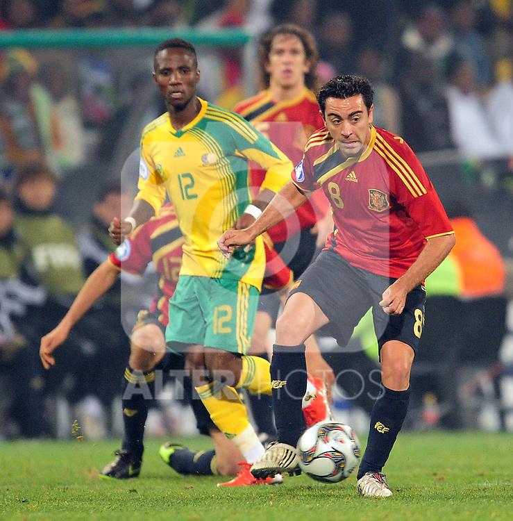 Xavi  during the soccer match of the 2009 Confederations Cup between Spain and South Africa played at the Freestate Stadium,Bloemfontein,South Africa on 20 June 2009.  Photo: Gerhard Steenkamp/Superimage Media.