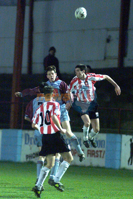 Action from Drogheda United V Derry City..Picture Fran Caffrey Newsfile..Camera:   DCS620C.Serial #: K620C-01974.Width:    1728.Height:   1152.Date:  5/12/99.Time:   16:32:30.DCS6XX Image.FW Ver:   1.9.6.TIFF Image.Look:   Product.Tagged.Counter:    [488].Shutter:  1/200.Aperture:  f2.8.ISO Speed:  1600.Max Aperture:  f2.8.Min Aperture:  f22.Focal Length:  300.Exposure Mode:  Manual (M).Meter Mode:  Color Matrix.Drive Mode:  Continuous High (CH).Focus Mode:  Continuous (AF-C).Focus Point:  Center.Flash Mode:  Normal Sync.Compensation:  +0.0.Flash Compensation:  +0.0.Self Timer Time:  10s.White balance: Auto (Daylight).Time: 16:32:30.204.
