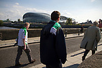 Republic of Ireland 5  Northern Ireland 0, 24/05/2011. Aviva Stadium, Carling Nations Cup. Supporters walking towards the Aviva Stadium in Dublin on the day that the Republic of Ireland took on Northern Ireland in a 2011 Carling Nations Cup game. The Republic won the game by 5 goals to 0. The multi-sports venue was originally known as Lansdowne Road and was reopened in 2010 after it was completely redeveloped. Photo by Colin McPherson.