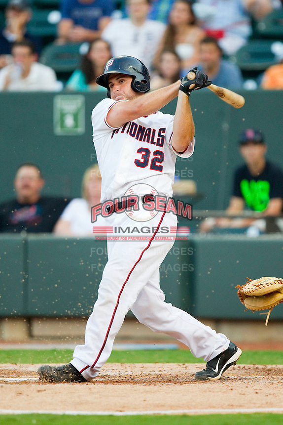 Carolina League All-Star David Freitas #32 of the Potomac Nationals follows through on his swing against the California League All-Stars during the 2012 California-Carolina League All-Star Game at BB&T Ballpark on June 19, 2012 in Winston-Salem, North Carolina.  The Carolina League defeated the California League 9-1.  (Brian Westerholt/Four Seam Images)