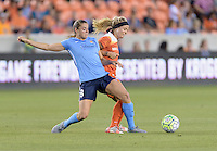 Houston, TX - Friday April 29, 2016: Erica Skroski (8) of Sky Blue FC battles Rachel Daly (3) of the Houston Dash for the ball at BBVA Compass Stadium. The Houston Dash tied Sky Blue FC 0-0.