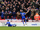 10th February 2018, Bramall Lane, Sheffield, England; EFL Championship football, Sheffield United versus Leeds United; Stuart Dallas of Leeds United celebrates with the Leeds fans after Pierre-Michel Lasogga has just scored the equalising goal in the 46th minute to make it 1-1