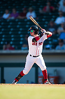 Mesa Solar Sox designated hitter Esteban Quiroz (2), of the Boston Red Sox organization, at bat during an Arizona Fall League game against the Peoria Javelinas at Sloan Park on November 6, 2018 in Mesa, Arizona. Mesa defeated Peoria 7-5 . (Zachary Lucy/Four Seam Images)