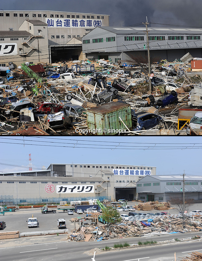 Images that show Sendai port area March 13th after the earthquake and Tsunami struck and 13th June 2011.  19th June will be 100 days since the earthquake...Photo by Richard Jones / Sinopix