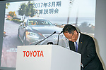 Toyota Motor Corp. President and CEO Akio Toyoda bows during a press conference on May 10, 2017, Tokyo, Japan. Toyota Motor Corp. announced its annual financial results for the fiscal year which ended March 31, 2017. The results saw net profits fall for first time in five years. (Photo by Rodrigo Reyes Marin/AFLO)