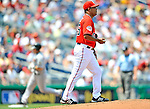 13 July 2008: Washington Nationals' starting pitcher Odalis Perez walks back up the mound after serving a home run ball to Houston Astros' third baseman Ty Wigginton in the second inning at Nationals Park in Washington, DC. The Astros shut out the Nationals 5-0 to take the rubber match of their 3-game series, as both teams head into the All-Star break and the second half of the 2008 season...Mandatory Photo Credit: Ed Wolfstein Photo