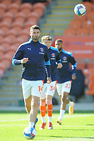 Blackpool's Gary Madine during the pre-match warm-up <br /> <br /> Photographer Kevin Barnes/CameraSport<br /> <br /> The EFL Sky Bet League One - Blackpool v Swindon Town - Saturday 19th September 2020 - Bloomfield Road - Blackpool<br /> <br /> World Copyright © 2020 CameraSport. All rights reserved. 43 Linden Ave. Countesthorpe. Leicester. England. LE8 5PG - Tel: +44 (0) 116 277 4147 - admin@camerasport.com - www.camerasport.com
