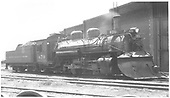 3/4 view of K-28 #470 beside engine house at Salida.<br /> D&amp;RGW  Salida, CO  Taken by Perry, Otto C. - 7/20/1934