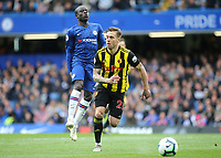 N'Golo Kante of Chelsea struggles with a hamstring injury and was subsituted after only ten minutes play during Chelsea vs Watford, Premier League Football at Stamford Bridge on 5th May 2019