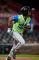 Las Ardillas Voladoras de Richmond Jalen Miller (1) runs to first base during an Eastern League game against the Erie Piñatas on August 28, 2019 at UPMC Park in Erie, Pennsylvania.  Richmond defeated Erie 4-3 in the second game of a doubleheader.  (Mike Janes/Four Seam Images)