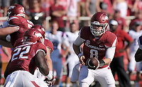 NWA Democrat-Gazette/BEN GOFF @NWABENGOFF<br /> Austin Allen, Arkansas quarterback, hands off to running back Rawleigh Williams III in the third quarter against Louisiana Tech on Saturday Sept. 3, 2016 during the game in Razorback Stadium in Fayetteville.