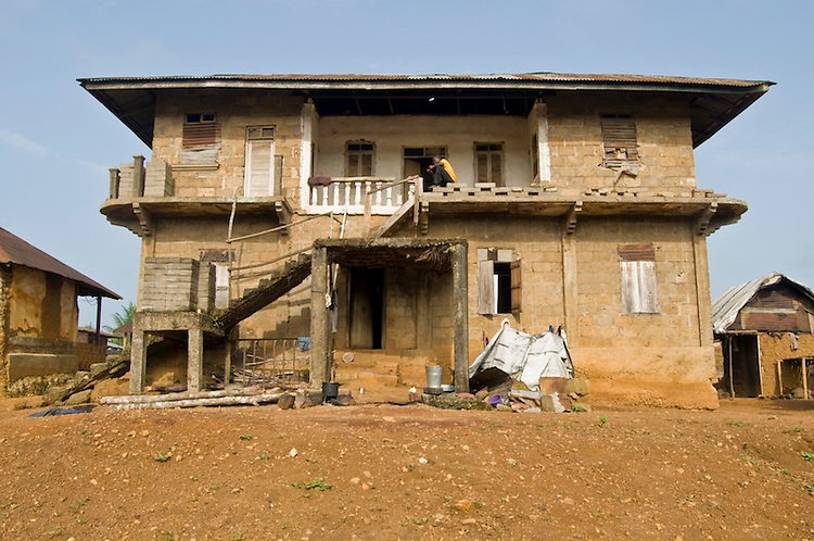 The house which the rebel leader Foday Sankoh lived in during the civil war. Village of Ngiehun, Kailahun District. Sierra Leone. Photo taken April 10, 2010.