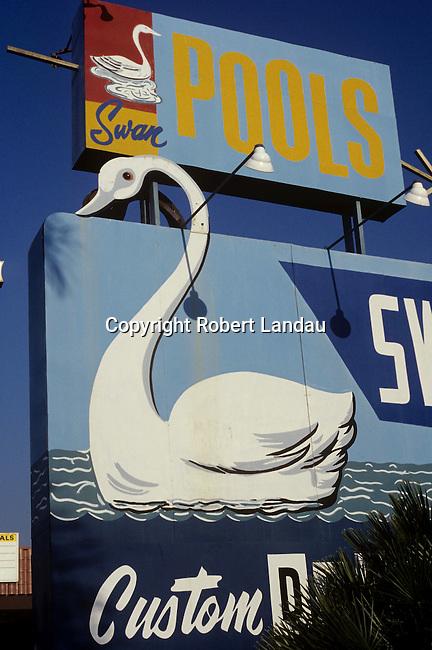 Swan Pools sign in San Fernando Valley, 1978
