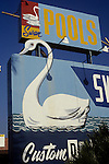 Swan Pools sign in San Fernando Valley, 1978