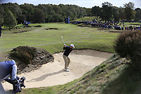 Paul Dunne (IRL) in a bunker on the 3rd fairway during Round 2 of the Sky Sports British Masters at Walton Heath Golf Club in Tadworth, Surrey, England on Friday 12th Oct 2018.<br /> Picture:  Thos Caffrey | Golffile<br /> <br /> All photo usage must carry mandatory copyright credit (&copy; Golffile | Thos Caffrey)
