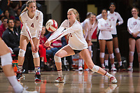 STANFORD, CA - November 15, 2017: Kate Formico, Meghan McClure at Maples Pavilion. The Stanford Cardinal defeated USC 3-0 to claim the Pac-12 conference title.