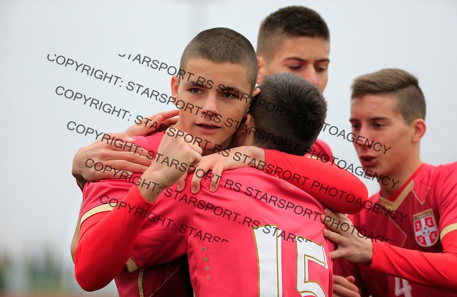 Fudbal soccer friendly match<br /> Srbija U17 v Madjarska U17<br /> Nikola Lakcevic (C) celebrate scoring a goal with the Dejan Joveljic (L)<br /> Stara Pazova, 08.12.2015.<br /> foto: Srdjan Stevanovic/Starsportphoto &copy;